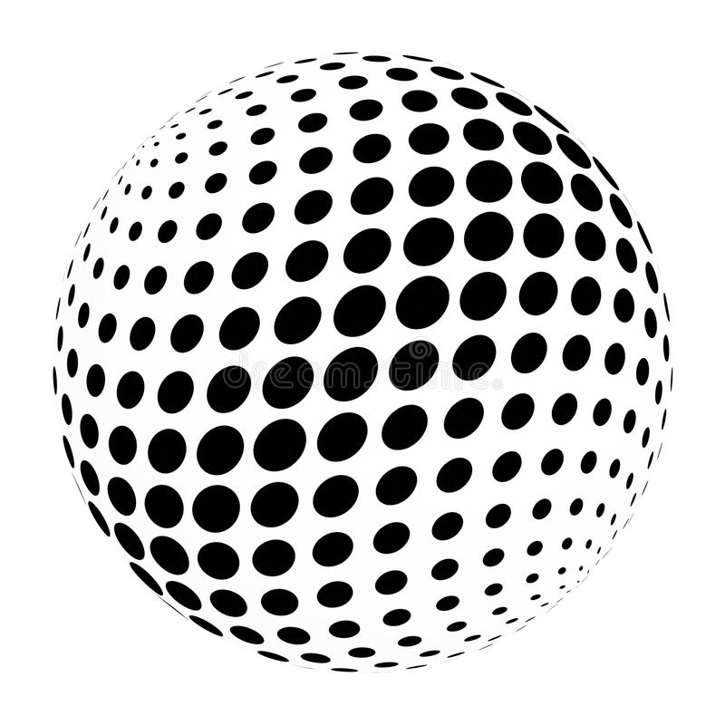 Abstrakcjonistyczna halftone 3D sfera okrąg kropki w przecinającym przygotowania Prosty nowożytnego projekta wektorowy element w  ilustracja wektor