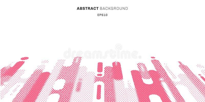 Abstrakcjonistyczna halftone stylu menchia zaokrąglająca kształtuje linii przemiany perspektywicznego tło z kopii przestrzenią Kr ilustracji