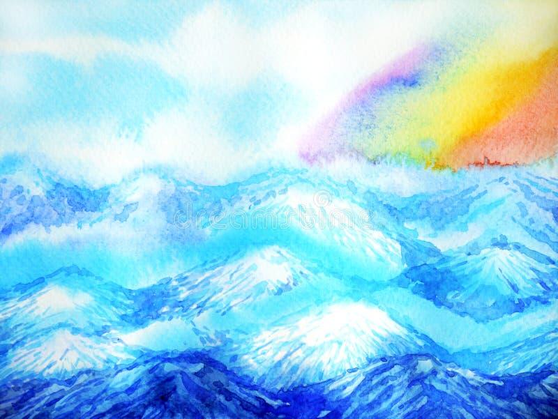 Abstrakcjonistyczna halna ręka rysująca akwarela obrazu krajobrazu projekta ilustracja ilustracja wektor