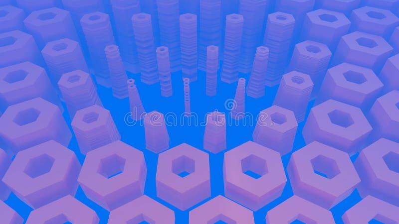Abstrakcjonistyczna heksagonalna architektoniczna struktura w mgłowej przestrzeni ilustracja wektor