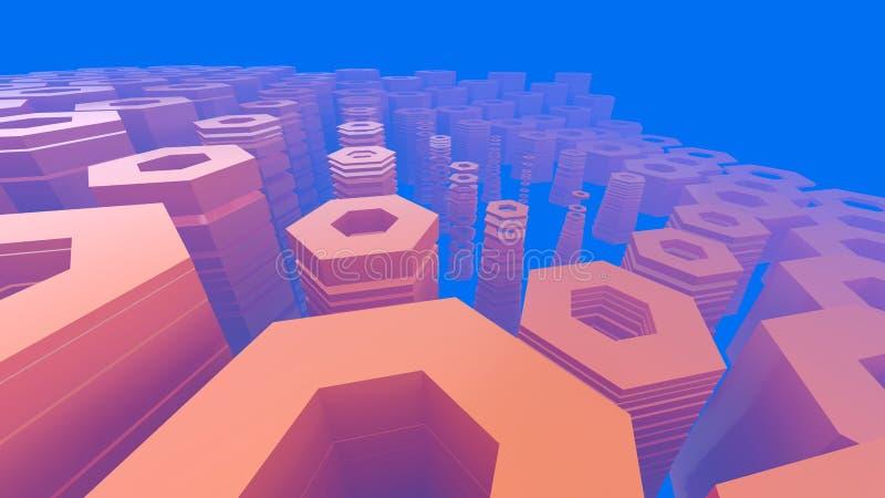 Abstrakcjonistyczna heksagonalna architektoniczna struktura w mgłowej przestrzeni royalty ilustracja