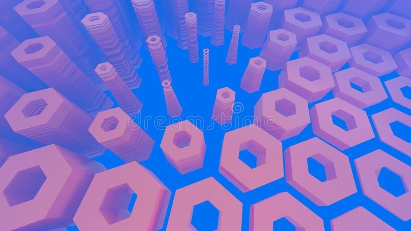 Abstrakcjonistyczna heksagonalna architektoniczna struktura w mgłowej przestrzeni ilustracji
