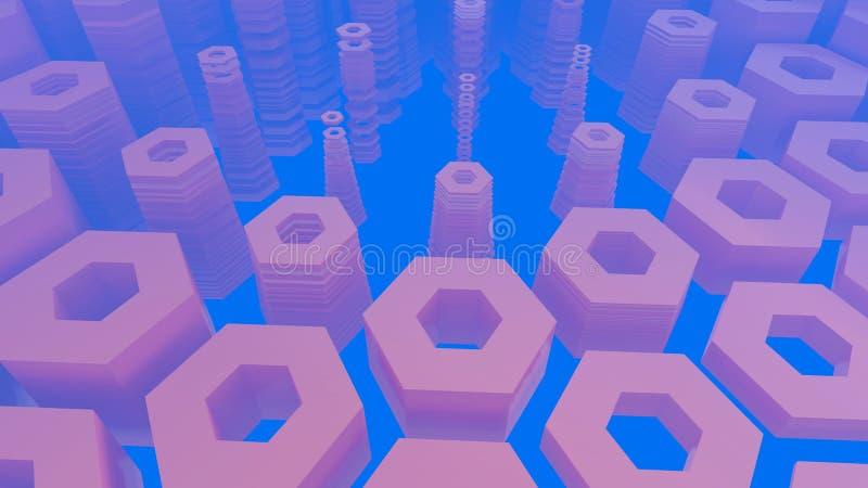 Abstrakcjonistyczna heksagonalna architektoniczna struktura w mgłowej przestrzeni ilustracja 3 d ilustracji