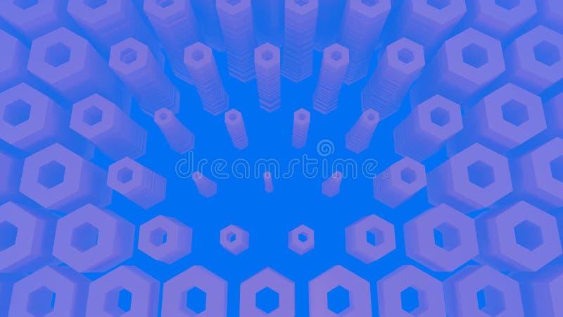 Abstrakcjonistyczna heksagonalna architektoniczna struktura w mgłowej przestrzeni ilustracja 3 d royalty ilustracja