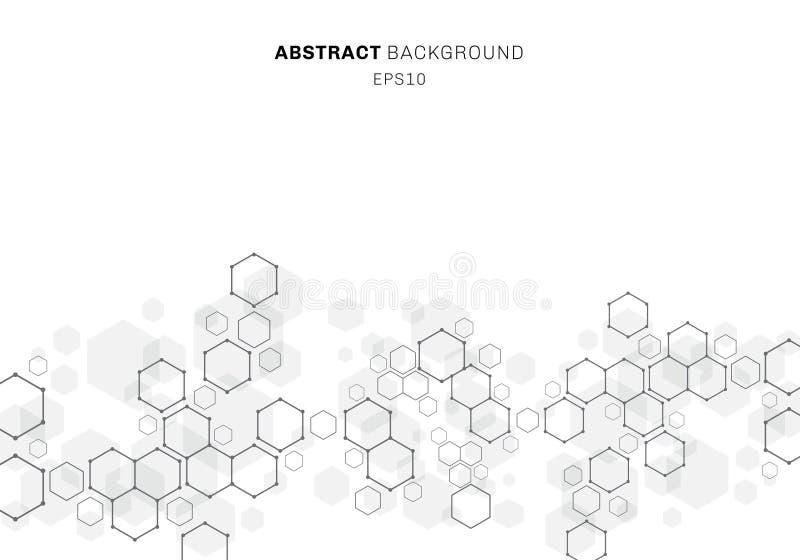 Abstrakcjonistyczna heksagonalna moleku?y struktura neuronu system Technologii cyfrowej tło z kopii przestrzenią Przysz?o?ciowy g ilustracji