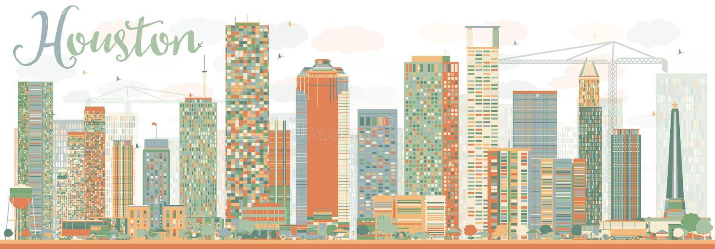 Abstrakcjonistyczna Houston linia horyzontu z kolorów budynków niebem royalty ilustracja