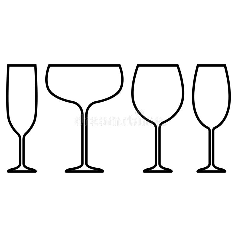 Abstrakcjonistyczna ikona na białym tle Wina szkła ikony wektoru ilustracja Znak, symbol, element Wineglass konturu wektor ilustracji