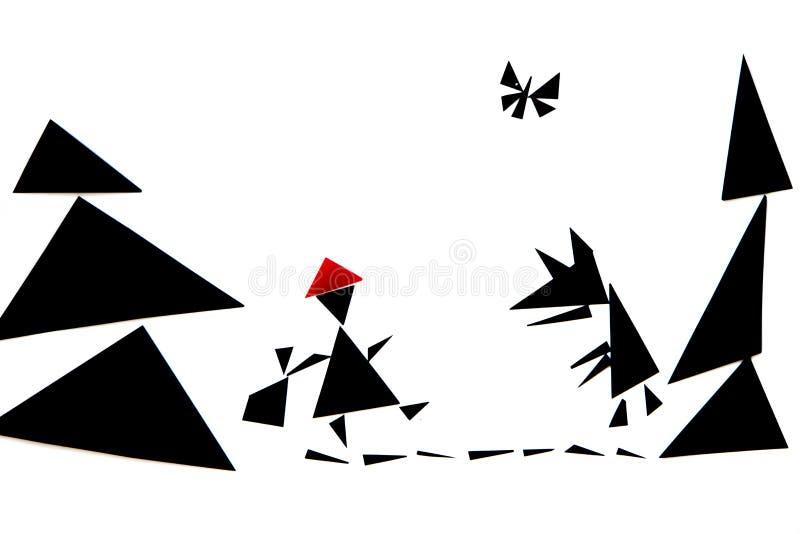 Abstrakcjonistyczna ilustracja czerwona jeździeckiego kapiszonu opowieść zdjęcia stock