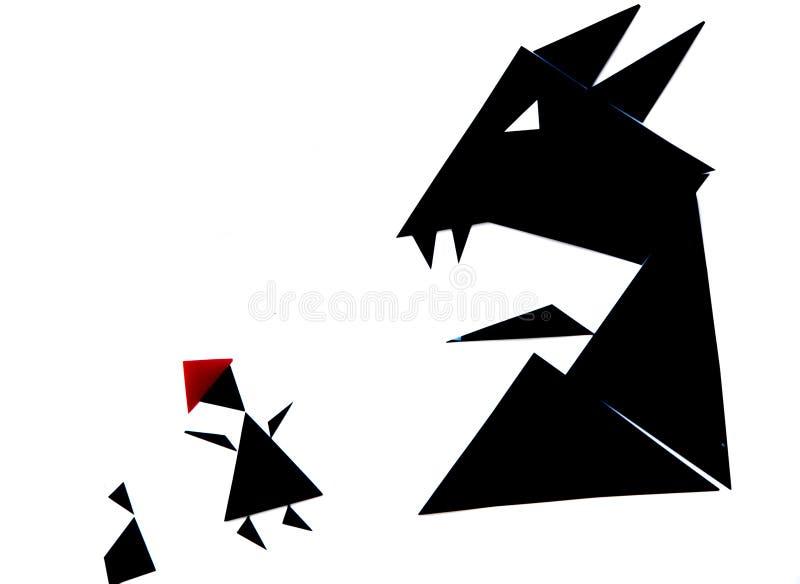 Abstrakcjonistyczna ilustracja czerwona jeździeckiego kapiszonu opowieść obrazy royalty free
