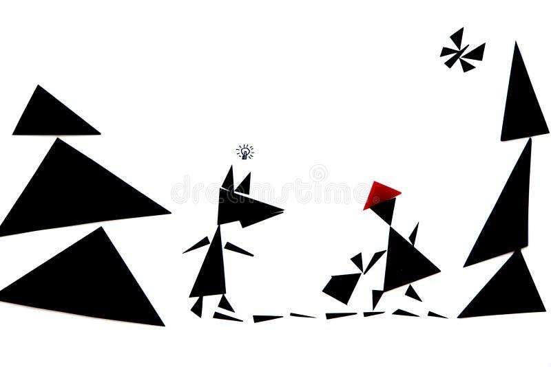 Abstrakcjonistyczna ilustracja czerwona jeździeckiego kapiszonu opowieść zdjęcia royalty free