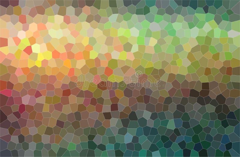 Abstrakcjonistyczna ilustracja kolor żółty, brąz, błękit i popielaty jaskrawy mały sześciokąta tło, ilustracji