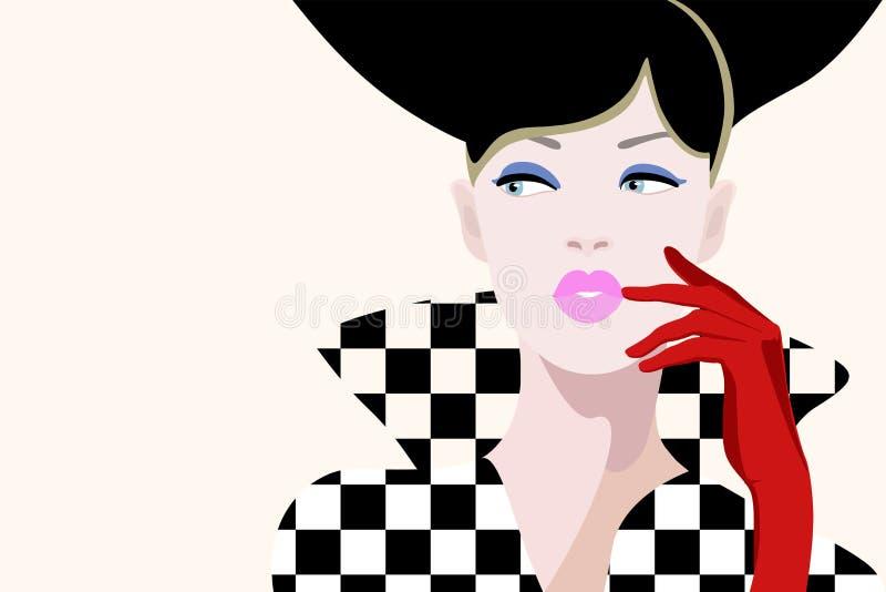 Abstrakcjonistyczna ilustracja myślący dziewczyna model w żakieta wzoru kwadracie ilustracja wektor