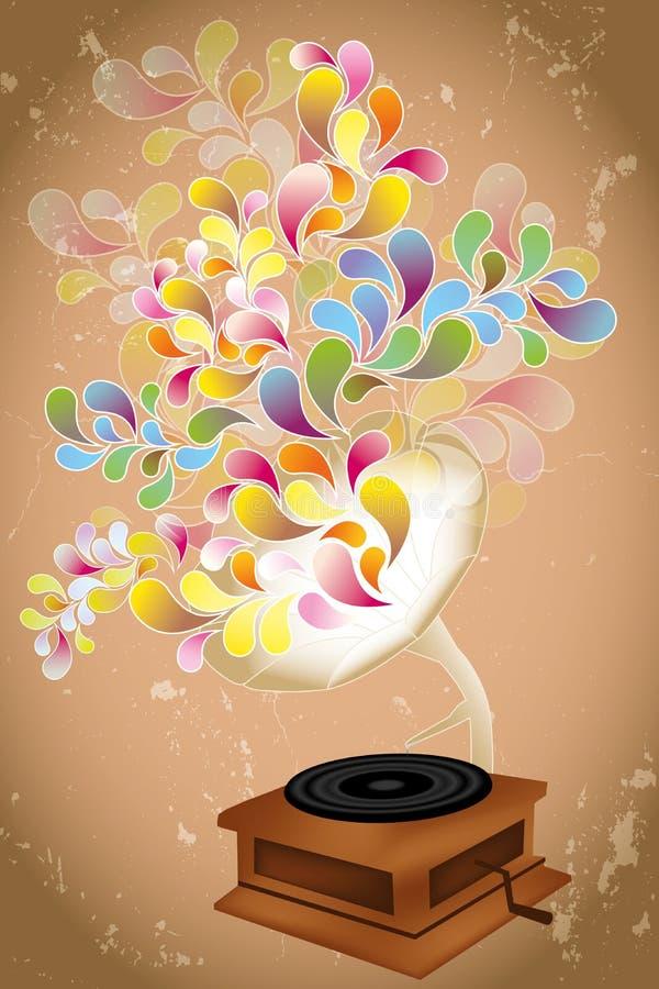 Abstrakcjonistyczna ilustracja retro odtwarzacz muzyczny bawić się kolorowych przejrzystych kształty ilustracji