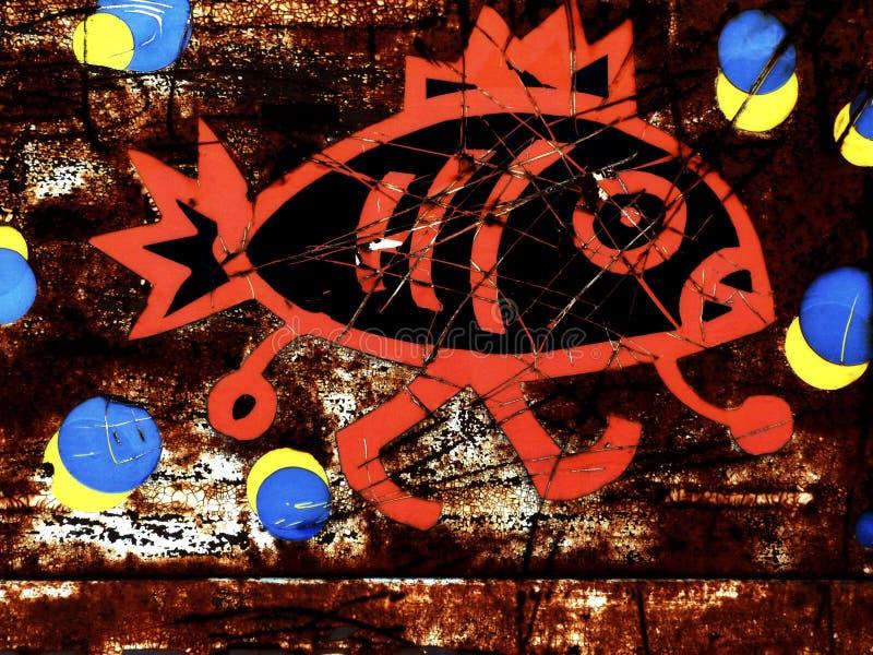 Abstrakcjonistyczna ilustracja Rybi sklep w Ośniedziałym znaku obrazy stock
