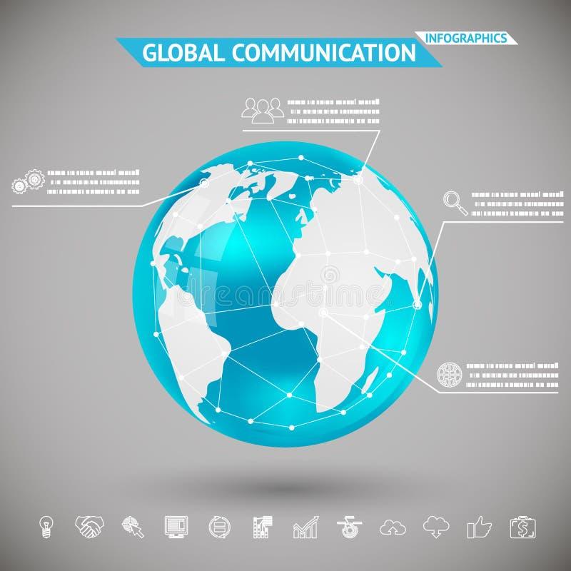 Abstrakcjonistyczna Infographics Globalna komunikacja z ikony planety ziemi sfery piłką na Szarej Bacground wektoru ilustraci ilustracja wektor