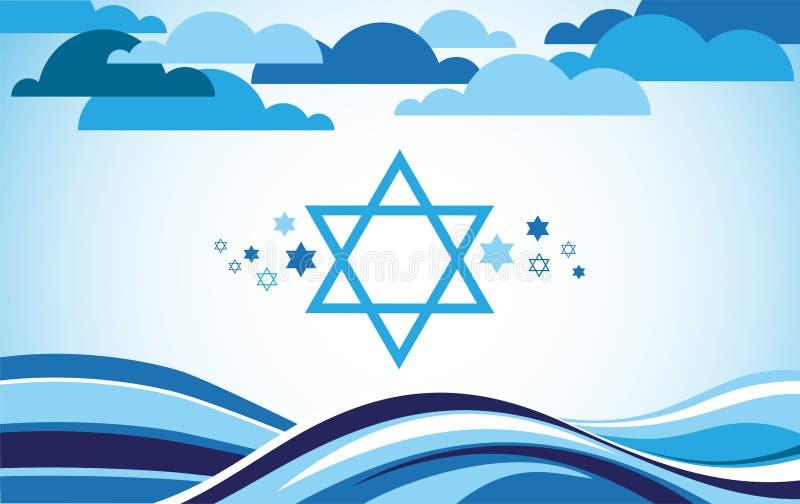 Abstrakcjonistyczna Israel flaga jako morze i niebieskie niebo ilustracja wektor