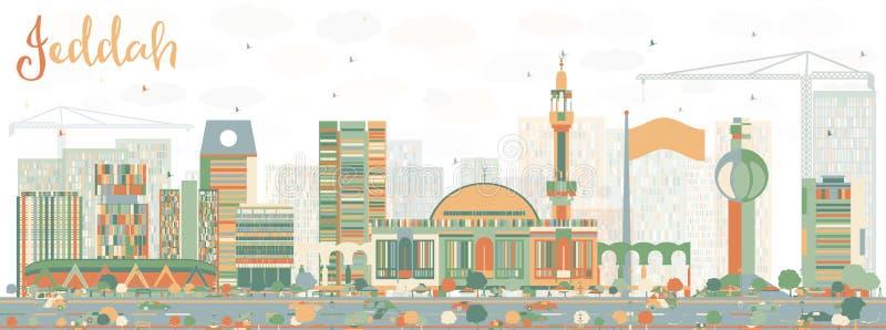 Abstrakcjonistyczna Jeddah linia horyzontu z kolorów budynkami ilustracja wektor