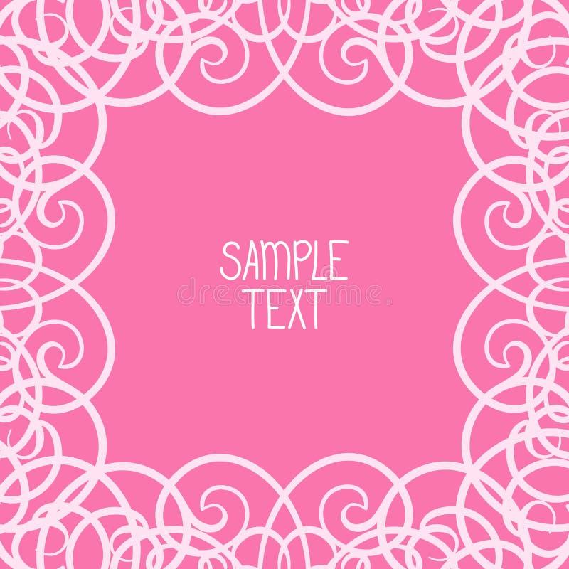 Abstrakcjonistyczna kaligraficzna zawijasa kwadrata rama z miejscem dla teksta Może używać dla karty, plakat, etykietka, strony d royalty ilustracja