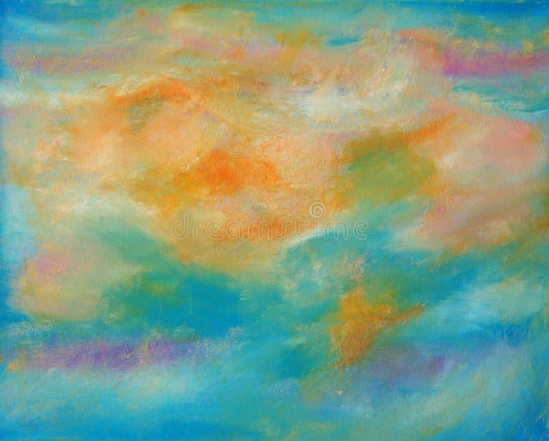 Abstrakcjonistyczna kanwa w ciepłych kolorach ilustracja wektor