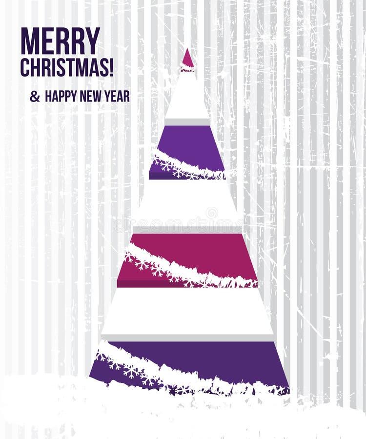 Abstrakcjonistyczna kartka bożonarodzeniowa z drzewem w purpurowym colo ilustracja wektor