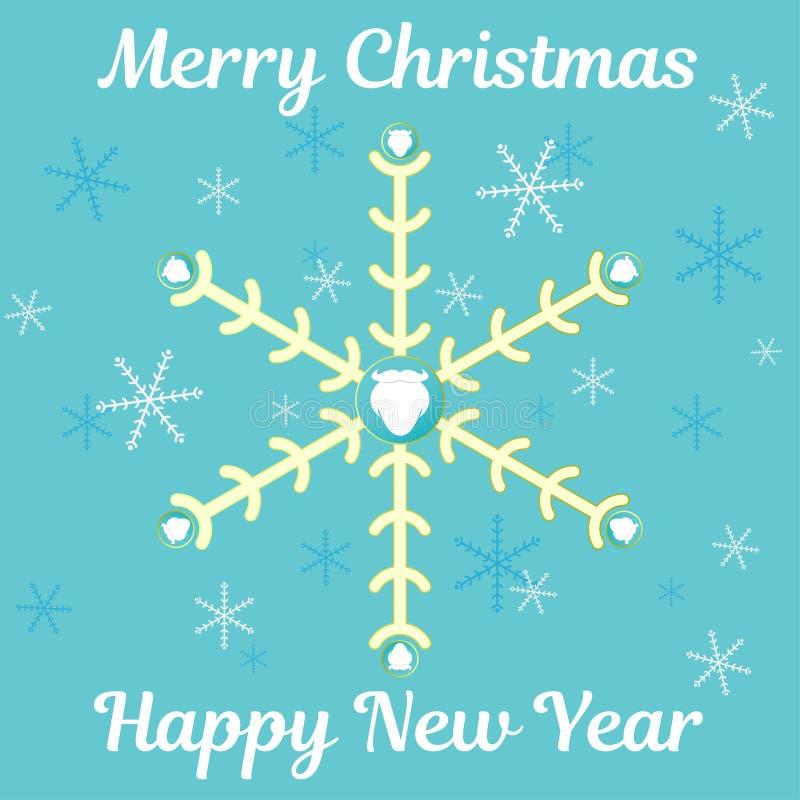 Abstrakcjonistyczna kartka bożonarodzeniowa z płatkami śniegu Santa broda i życzyć tekst, zdjęcie stock