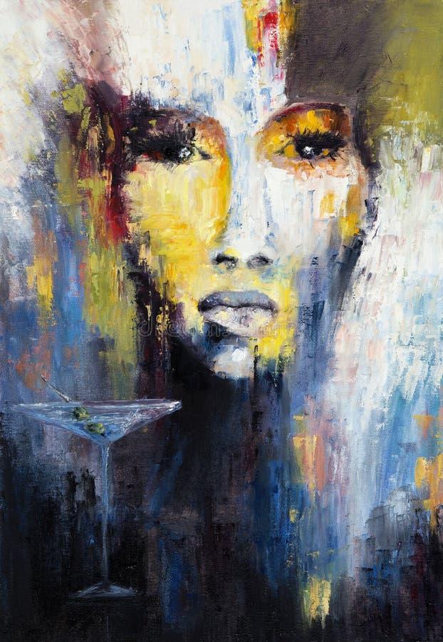 Abstrakcjonistyczna kobieta i Martini ilustracji
