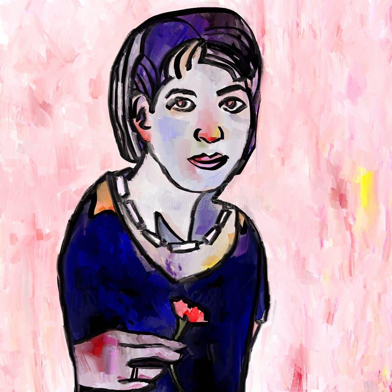 Abstrakcjonistyczna kobieta z kwiatem ilustracja wektor