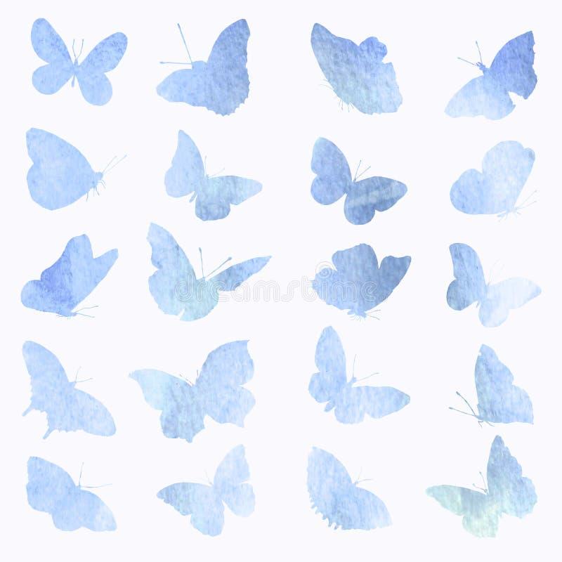Abstrakcjonistyczna kolekcja motylie sylwetki w akwareli ilustracja wektor