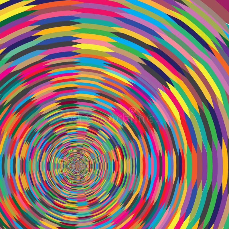 Abstrakcjonistyczna Kolorowa Ślimakowata Psychiczna okręgu Okulistycznego złudzenia tła wzoru tekstura royalty ilustracja
