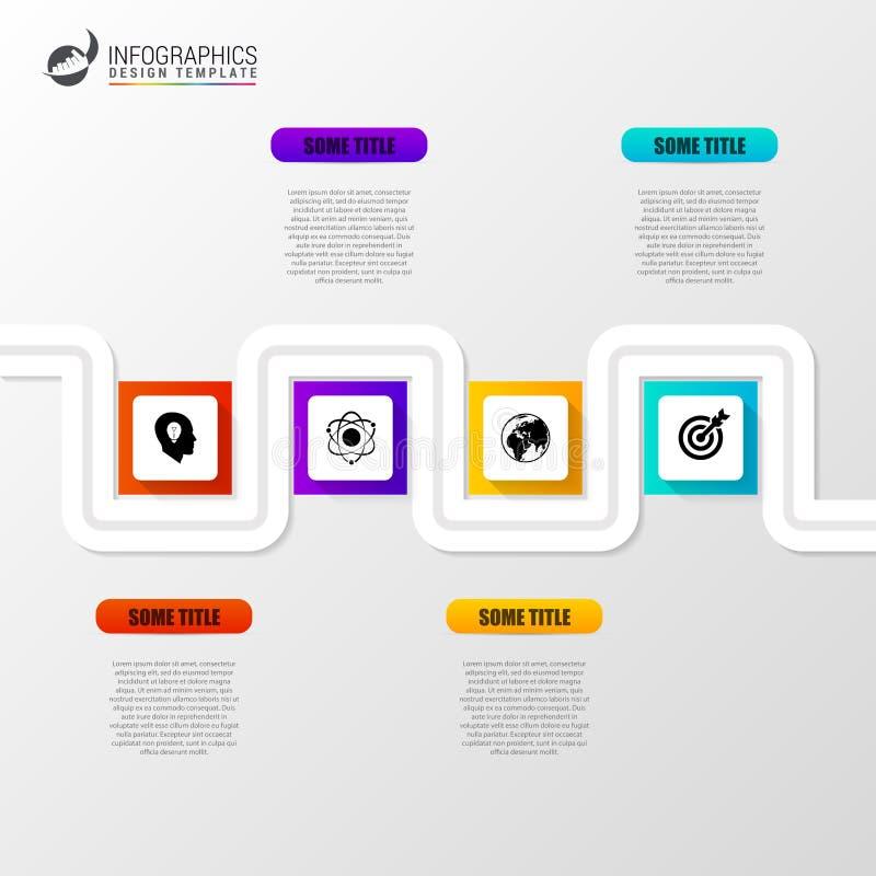 Abstrakcjonistyczna kolorowa biznesowa ścieżka Linia czasu infographic szablon ilustracja wektor