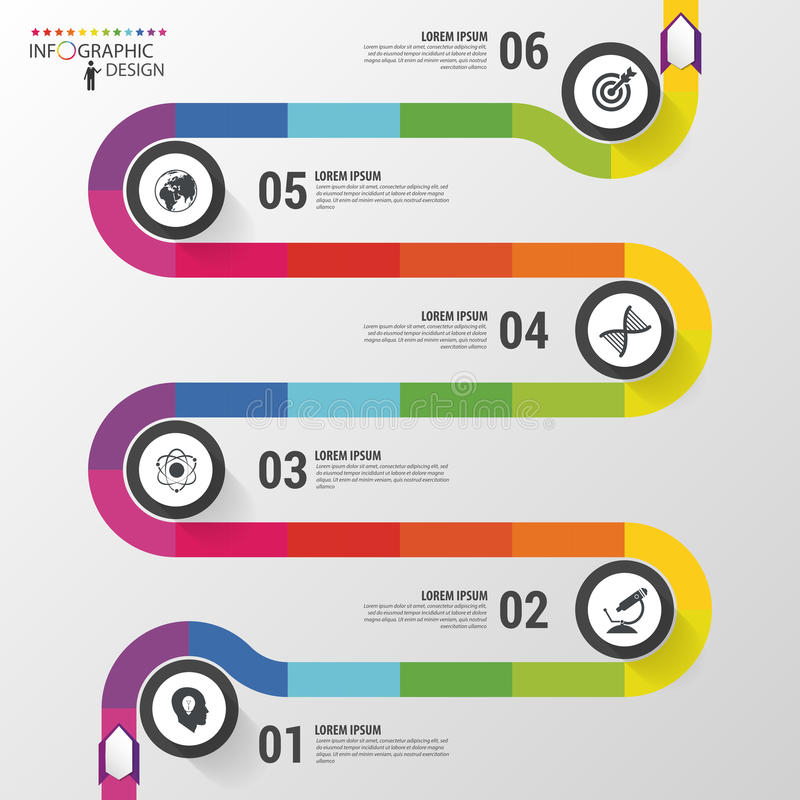 Abstrakcjonistyczna kolorowa biznesowa ścieżka Linia czasu infographic szablon również zwrócić corel ilustracji wektora ilustracji