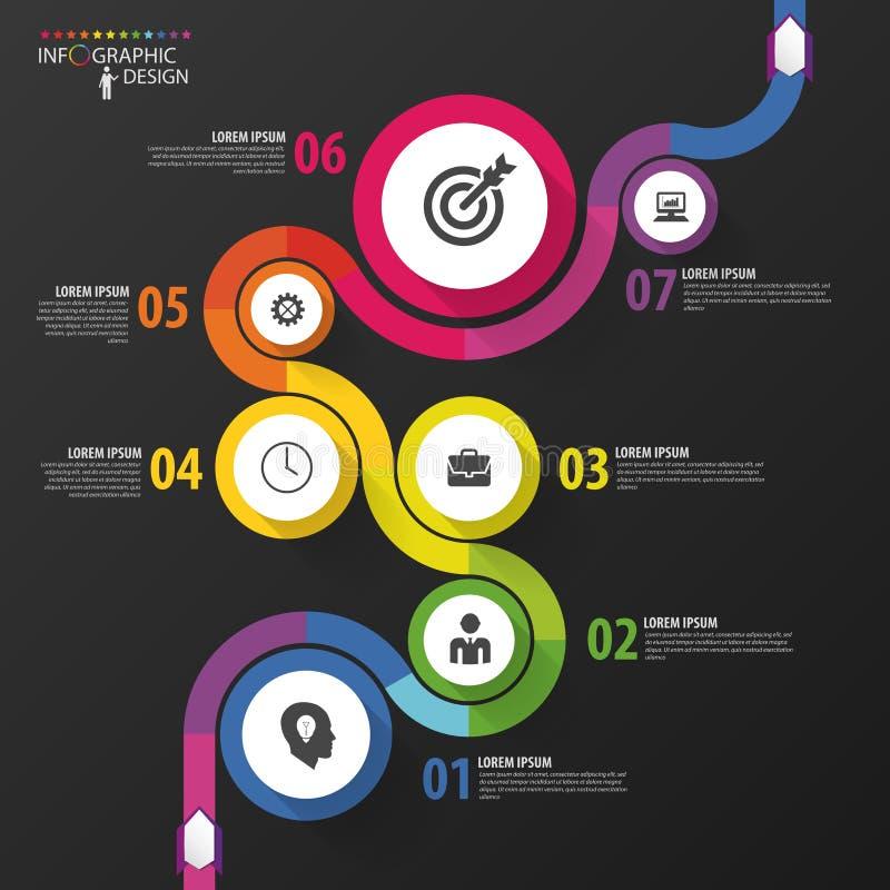 Abstrakcjonistyczna kolorowa biznesowa ścieżka Linia czasu infographic szablon wektor ilustracji