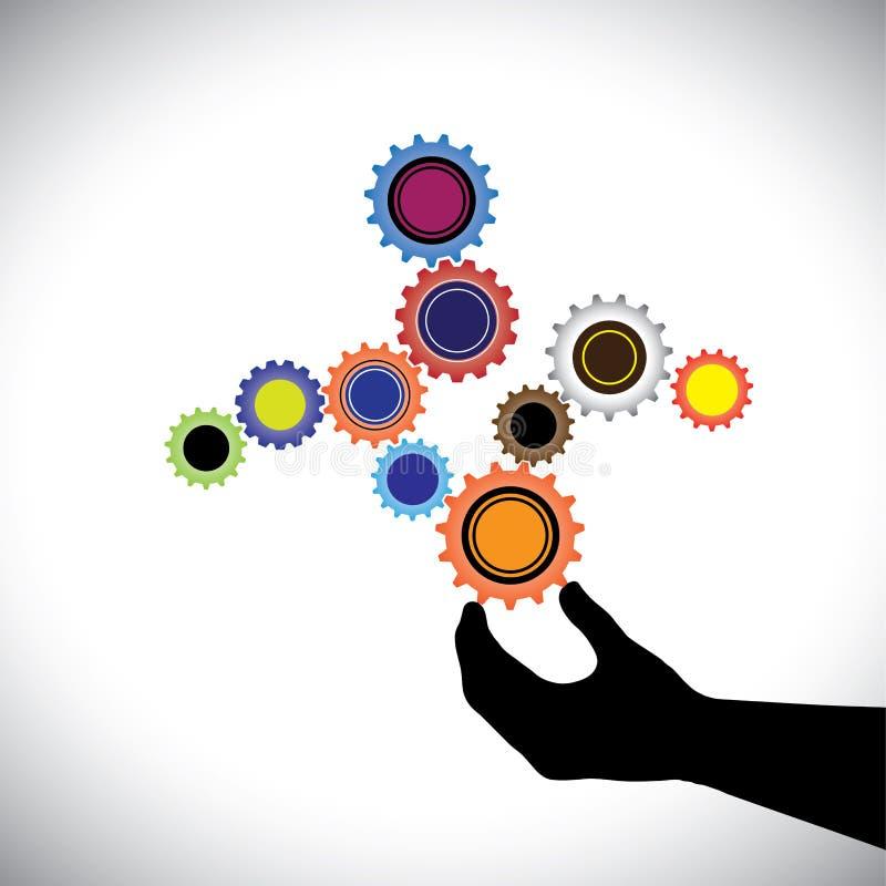 Abstrakcjonistyczna kolorowa cogwheels grafika kontrolująca ręką (osoba) ilustracji
