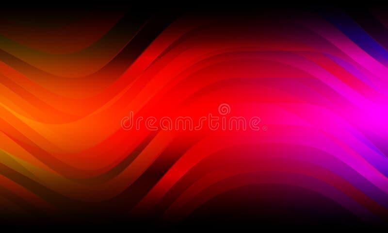 Abstrakcjonistyczna kolorowa fala i Wyginający się tło, 3D rendering ilustracji