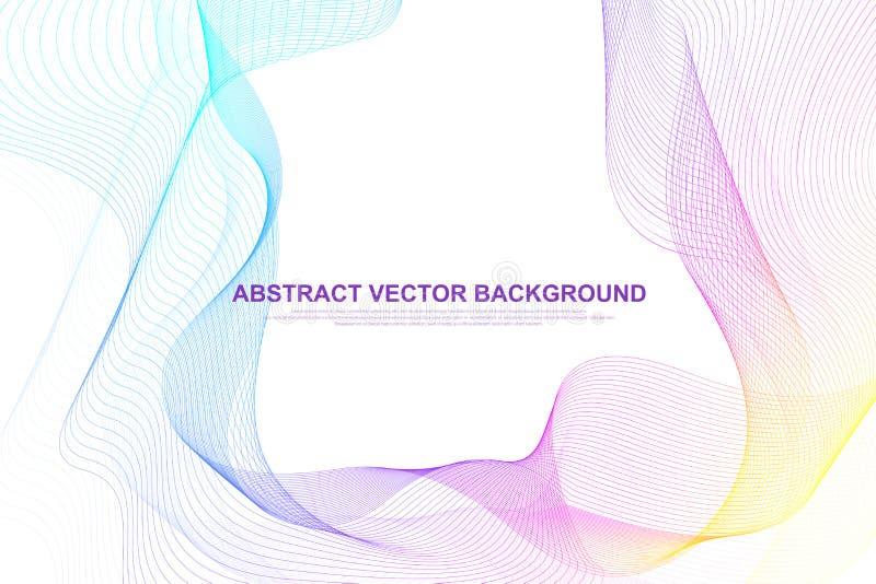 Abstrakcjonistyczna kolorowa fala wyk?ada t?o Kółkowy wireframe siatki element Geometryczny szablon dla twój projekt broszurki royalty ilustracja