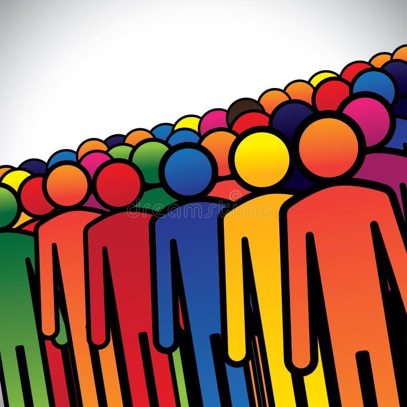 Abstrakcjonistyczna kolorowa grupa ludzi, pracownicy lub pracownicy ilustracji