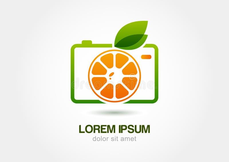Abstrakcjonistyczna kolorowa pomarańczowa owocowa fotografii kamera Wektorowy logo ikony te ilustracja wektor