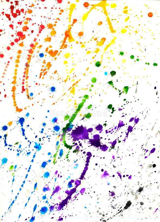Abstrakcjonistyczna Kolorowa ręka Rysujący tło akwareli pluśnięcie ilustracja wektor