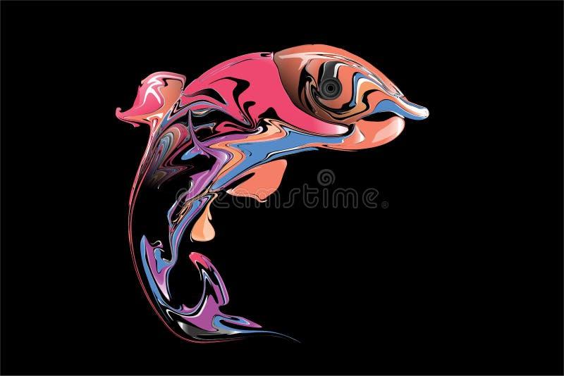 Abstrakcjonistyczna kolorowa ryba z czarnym tłem również zwrócić corel ilustracji wektora ilustracja wektor