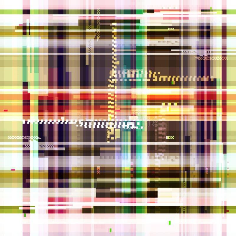 Abstrakcjonistyczna kolorowa tapeta w stylu usterka piksla Kolorowy geometryczny deseniowy hałas Grunge, nowożytny tło ilustracja wektor