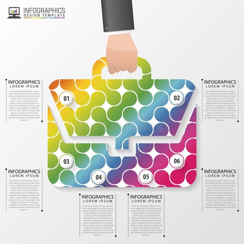 Abstrakcjonistyczna kolorowa torba nowożytny projekta szablon Infographics elementy również zwrócić corel ilustracji wektora royalty ilustracja