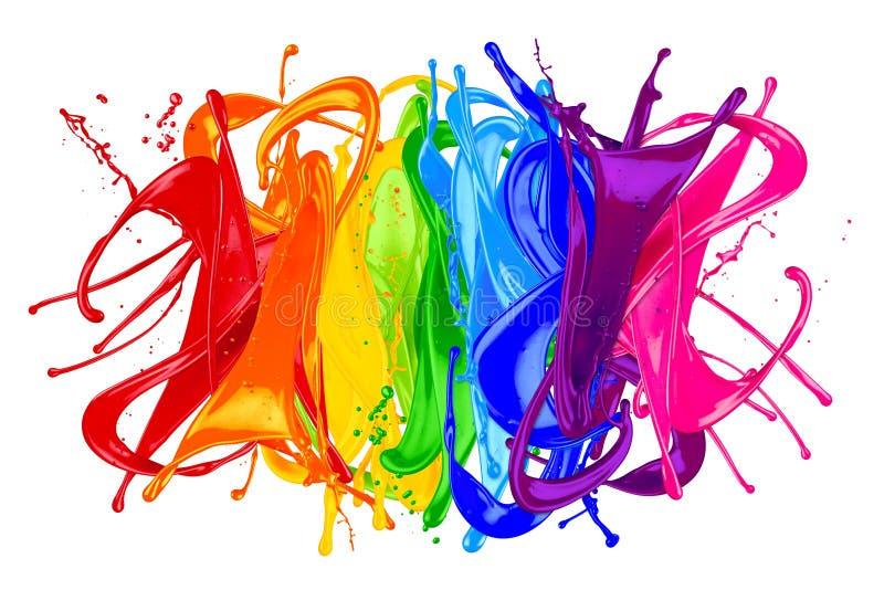 Abstrakcjonistyczna koloru pluśnięcia tęcza royalty ilustracja