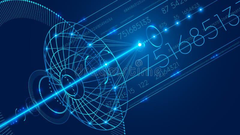 Abstrakcjonistyczna komunikacyjna antena satelitarna Abstrakcjonistyczny technologii cyfrowej komunikacji tło ilustracji