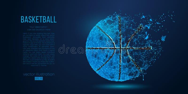 Abstrakcjonistyczna koszykówki piłka od cząsteczek, linii i trójboków na błękitnym tle, również zwrócić corel ilustracji wektora ilustracji