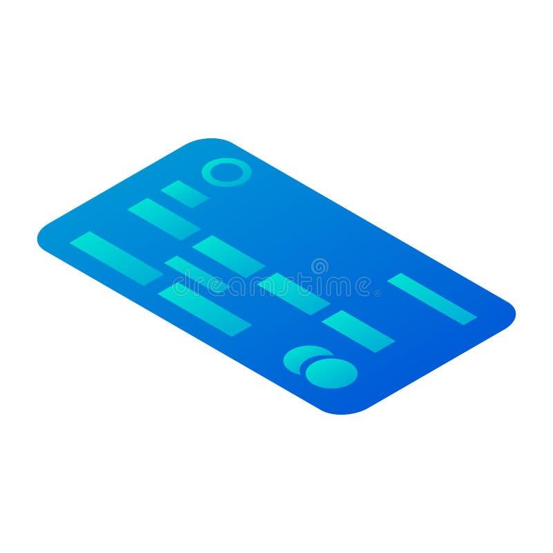 Abstrakcjonistyczna kredytowej karty ikona, isometric styl ilustracji