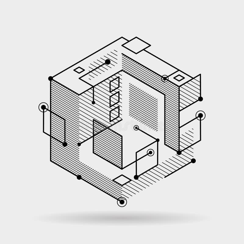 Abstrakcjonistyczna kubiczna linia elementów 3D tła projekta wektoru techniczna isometric ilustracja ilustracja wektor