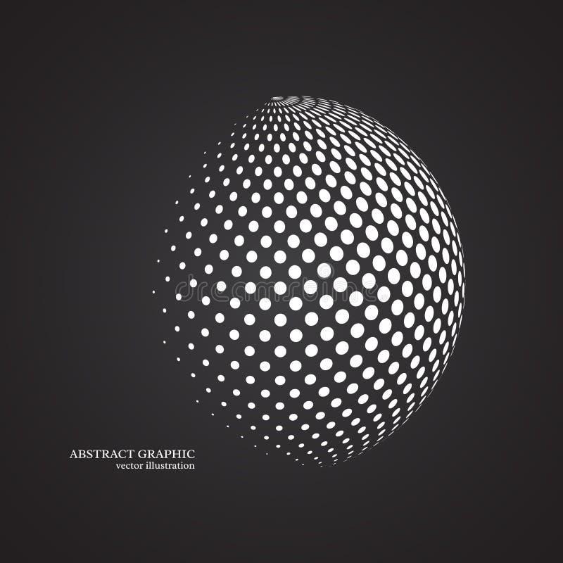 Abstrakcjonistyczna kula ziemska kropkująca sfera, 3d halftone kropki skutek Biały colo royalty ilustracja