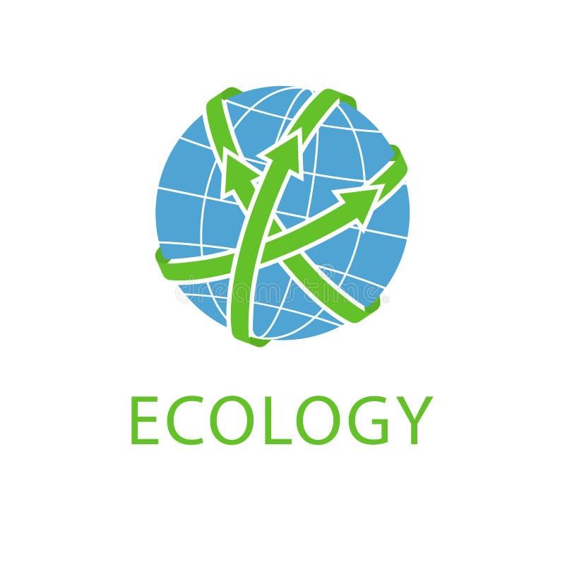 Abstrakcjonistyczna kula ziemska z zielonymi strzałami, pojęcie oprócz planety, eco logo ilustracji