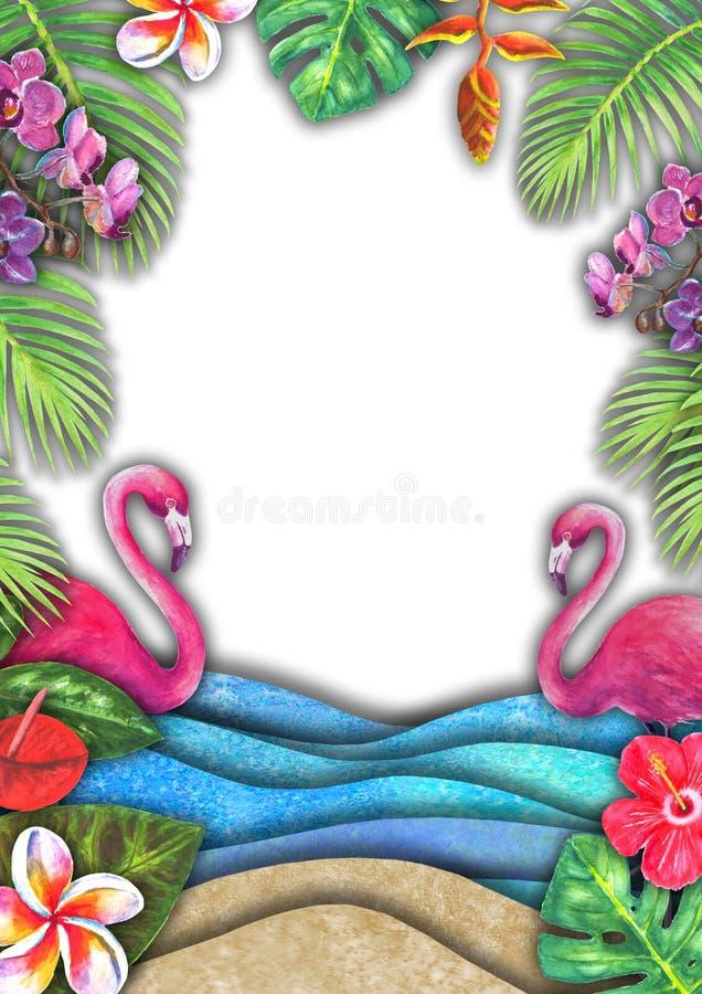 Abstrakcjonistyczna lato akwareli morza fala, piasek plaża, tropikalne rośliny, różowy flaminga tło ilustracji