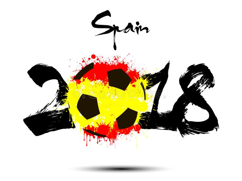 Abstrakcjonistyczna liczba 2018 i piłki nożnej piłki kleks ilustracja wektor